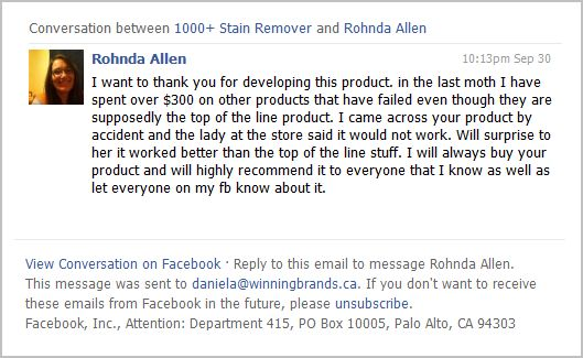 Picture - Testimonial from Facebook