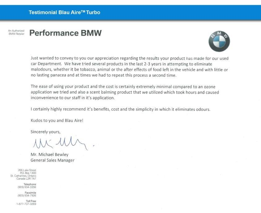 Picture - Blau Aire BMW Dealership Testimonial